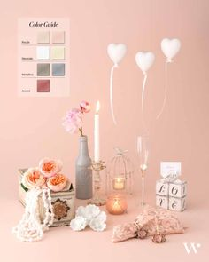 Are you looking for sophisticated romance in your wedding décor? This color palette will achieve exactly that. It is an ultra warm combination that embodies feminine romance! More color tips here!