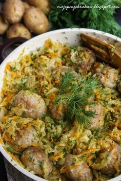 Pulpety duszone w młodej kapuscie - Meatballs Stewed In Young Cabbage - Translation available in English Baby Food Recipes, Chicken Recipes, Dinner Recipes, Cooking Recipes, Healthy Recipes, I Love Food, Good Food, Yummy Food, Cabbage Stew