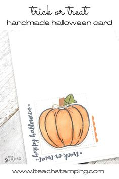 "These simple but super sweet handmade pumpkin cards are easy to make, come together super quick thanks to some handy tips and are perfect to send to anyone who loves Halloween. Trick or treat cards are a fun way to celebrate Halloween with anyone who might be to grown up to go door to door! Click through and learn some of my ""trade secrets""! Handy Tips, Helpful Hints, Pumpkin Uses, Pumpkin Cards, Alcohol Markers, Glue Dots, Free Paper, Diy Craft Projects, Greeting Cards Handmade"