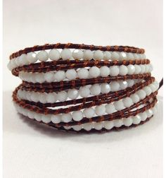 Faceted Crystal 5 Wrap Leather Wrap