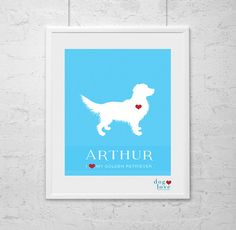 Golden Retriever Dog Silhouette  Personalized by DogLoveShoppe