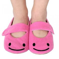 $40 Don't you just love these Super Happy Slippers?  They are sold in sizes 6.5 to 11.5. Handmade by Lynda Lee and found at shanalogic.com