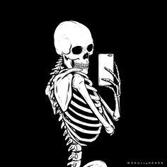 """skull-heads: """" Mirror, Mirror, on the Wall… """" Skeleton Drawings, Skeleton Art, Art Drawings, Skeleton On Phone, Skeleton Photo, Skeleton Makeup, Human Skeleton, Skull Makeup, Skull Wallpaper"""