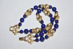 Vintage Trifari Bracelet 2 Strand Blue 1970s Jewelry by patwatty, $15.00