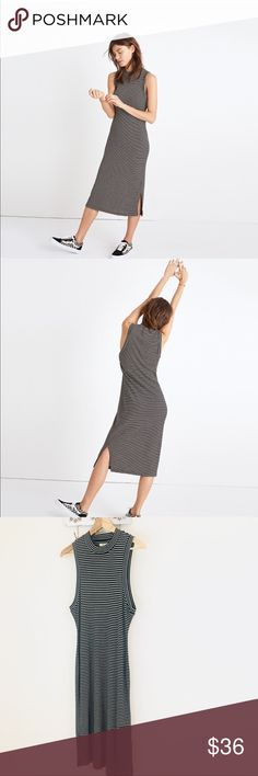 "Madewell Ribbed Mock Neck Midi Dress NWT! Tiny hole where the tag is in the back (see pic)   PRODUCT DETAILS A day-to-night mockneck dress in a special soft and stretchy ribbed fabric from Portugal. Comfy and flattering, this striped style is a wardrobe holy grail.    Nonwaisted. 45"" length Tencel®/wool. Machine wash. Madewell Dresses Midi"
