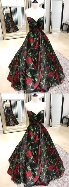sweetheart floral prom party dresses, fashion evening dresses, elegant ball gowns for special occasion B0232