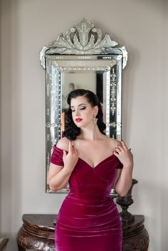 Miss Victory Violet smoulders in our Fatale Magenta Velvet Pencil Dress