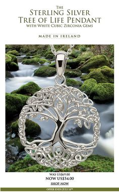 Sterling Silver Tree Of Life Pendant: This beautiful Tree Of Life pendant has been skillfully handcrafted in Ireland with Sterling Silver. It features white Cubic Zirconia gem detailing throughout the intricate tree design. The Tree of Life is a symbol used both religiously and philosophically from mythology around the world and can be associated with many meanings such as harmony and balance.