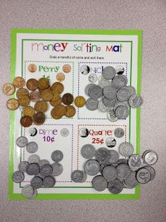 In addition to learning about telling time in math, we will also be learning about money! We will have many money math stations where we can sort and count coins and bills. Money Activities, Kindergarten Math Activities, Homeschool Math, Fun Math, Activities For Kids, Homeschooling, Money Games, Math Games, Learning Games