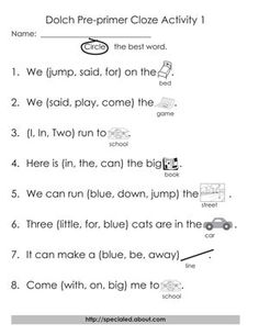 5 Sets of Worksheets for Dolch High Frequency Words: Pre-Primer Cloze Activities