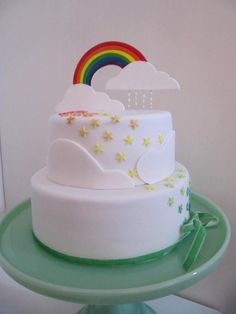 Two-tier rainbow cake for a 4th Birthday