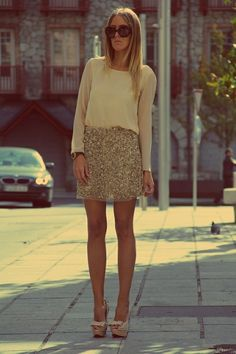 sequin skirt gold - loose the shoes and i'm loving!