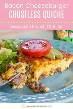 Low Carb Bacon Cheeseburger Crustless Quiche - this delicious egg recipe is filled with ground beef, bacon, and cheese. Just add your favorite hamburger toppings for an easy gluten-free and keto-friendly breakfast, brunch, or breakfast for dinner. Bacon Cheese Burger Recipe, Hamburger Toppings, Cheeseburger Recipe, Beef Bacon, Ground Beef Recipes For Dinner, Low Carb Dinner Recipes, Delicious Dinner Recipes, Low Carb Breakfast, Breakfast For Dinner