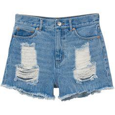 Monki Kelly Denim shorts ($22) ❤ liked on Polyvore featuring shorts, bottoms, denim shorts, short, light blue, denim short shorts, destroyed denim shorts, distressed shorts, ripped jean shorts and ripped short shorts
