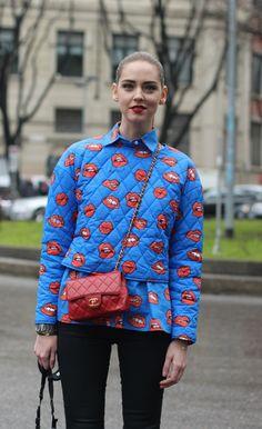 #ChiaraFerragani #theblondesalad #aujourlejour #blue #look #lipsprint  #street #fashion #look #mode #moda #women #streetstyle #milan #streetview #street #style #offcatwalk on #sophiemhabille