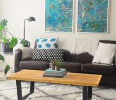 SUMMER LIVING ROOM REFRESH - HIP HIP HOME! African Crafts, African Home Decor, African Mud Cloth, Hip Hip, Love Seat, New Homes, Couch, Throw Pillows, Living Room