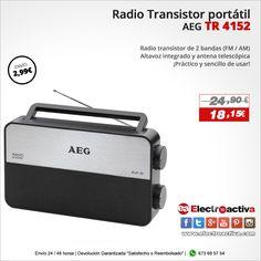 ¡Práctico y sencillo de usar! Radio Transistor AEG TR 4152 http://www.electroactiva.com/aeg-radio-transistor-tr-4152.html #Elmejorprecio #Radio #Chollo #Electronica #PymesUnidas