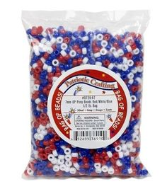 Pony Beads 7mm-Red/White/Blue