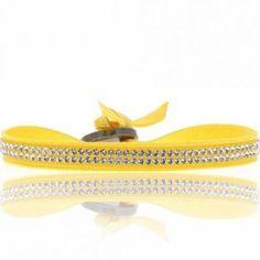 Les Interchangeables et sa créatrice Audrey Bot présente le bracelet Full 2 Rangs de couleur jaune.
