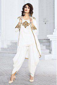 88e442a442c Linnen Party Wear Patiala Suit In White Colour