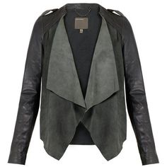 Lupus Grey Draped Suede and Leather Jacket ❤ liked on Polyvore featuring outerwear, jackets, draped jackets, drapey jacket, gray jacket, genuine leather jackets and grey jacket