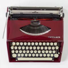 """Vintage German """"TIPPA S"""" Typewriter by Triumph-Adler (TA) in rare dark red"""