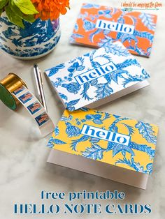 Free Hello Card Printables in Three Chic Chinoiserie Designs Free Printable Cards, Free Printables, Monogrammed Stationery, Diy Wedding Inspiration, Thank You Note Cards, Scrapbook Cards, Scrapbooking, Sweet Notes, Pretty Cards