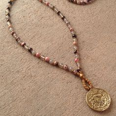 More gemstone combinations coming soon! Rhodochrosite and gray agate 108 bead mala necklace with Tibetan pendant – Lovepray jewelry