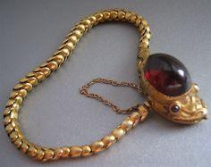 Antique CARBUNCLE Garnet SNAKE Serpent 14K Gold Victorian Link Bracelet