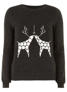 Charcoal reindeer jumper