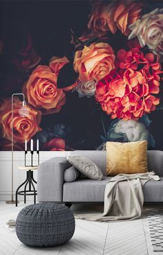 Bring texture to dark and moody walls with this beautiful, new dark floral wallpaper. Create a custom wall mural for your home and fill in our online order form to specify your wall's dimensions. We have two types of paste the wall wallpaper: classic and premium. We also have a self-adhesive wallpaper called peel and stick. Find out more from Wallsauce! #wallpaper Where to buy vintage wallpaper. Self Adhesive Wallpaper, Wall Wallpaper, Custom Wall Murals, Order Form, Wall Ideas, Designer Wallpaper, All Design, Fill, Texture