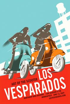 Vintage Italian Posters ~Los Vesparados - Art of the Scooter by tubes., via Flickr