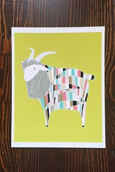 Technicolored Dream Goat Illustration, Nursery Art, Farmhouse Decor, by Gingiber