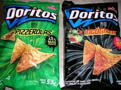 Doritos from Mexico Flavors- Pizzerolas and Incógnita Doritos, Frito Lay, Snack Recipes, Snacks, Pop Tarts, I Am Awesome, Chips, Weird, Food