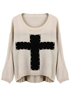 ROMWE | Knitted Cross Print Rivet White Jumper, The Latest Street Fashion