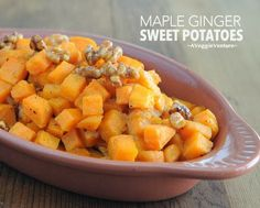 Maple Ginger Sweet Potatoes, tossed with a buttery syrup of maple syrup and fresh ginger. Great choice for Thanksgiving or everyday.