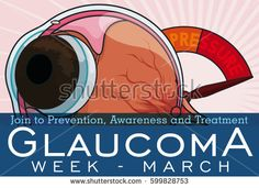 Banner for Glaucoma Week with eyeball and a manometer showing the importance of the control of intraocular high pressure in this disease treatment.