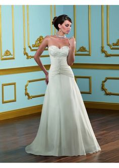 Chiffon Glistening Crystals Sweetheart A-Line Bridal Gown