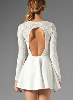 White Long Sleeve Back Out Dress