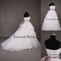 Vestidos De Noiva A-Line Court Train White Organza Flowers Scoop Sashes Bow Sexy Open Back Long Sleeveless Wedding Dresses 2014 $156.28
