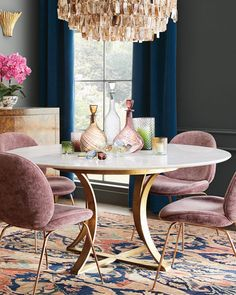 Shop Gayla Marble-Top Dining Table and Matching Items from Massoud at Horchow, where you'll find new lower shipping on hundreds of home furnishings and gifts. Marble Top Dining Table, Dining Room Table Decor, Dining Room Design, Living Room Decor, Dining Chairs, Round Dining Tables, Four Seater Dining Table, Circular Dining Table, Dining Room Blue