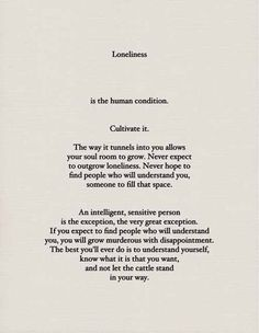 loneliness: the human condition