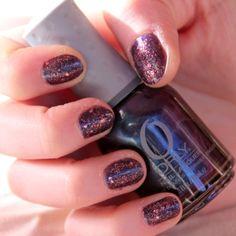 """Nail'Art """"Nuit"""" violet à paillettes"""