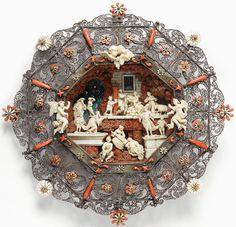 Early 18th century, silver filigree, ivory and coral platter. Filigree perhaps made by émigré Sth German craftsman. Trapani, Sicily -  Atelier d'Andrea Tipa. 30,6 x 31,1 cm - with Paris dealer a la Facon de Venise. Jan 2013.