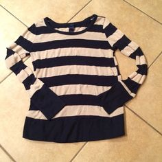 Long sleeved sweater Navy and cream long sleeves sweater, some wear, but lots of life left! Tops Tees - Long Sleeve