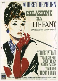"""""""Breakfast at Tiffany's"""" Poster for the first release of the movie in Italy in196. Artwork by Ercole Brini"""