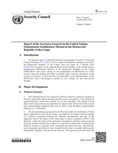 20161229 Report of the UN SG on MONUSCO in DRC (S/2016/1130)