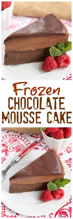 Frozen Chocolate Mousse Cake   A swoon worthy chocolate dessert! @lizzydo