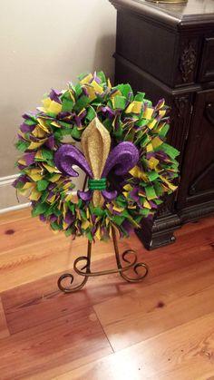 mardi gras burlap wreath with sparkle fleur de by Brandiwreaths, $55.00