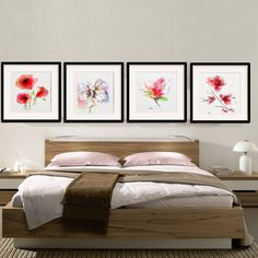 Flower Wall Art Decor Bedroom Set 4#decor#room #bedroom#flower#wall#art#gift#garden#watercolor#painting#clipart#home